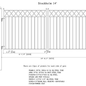 Stockholm Style Dual Swing Steel Driveway Gate DG14STOD-AG