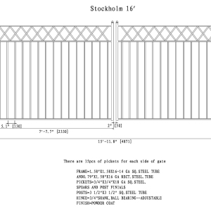 Stockholm Style Dual Swing Steel Driveway Gate DG16STOD-AG