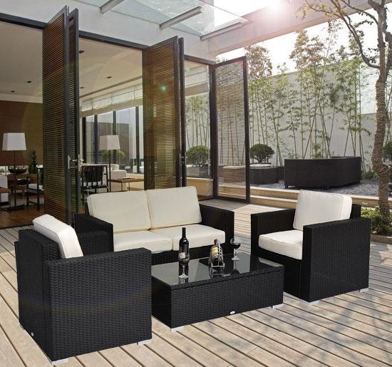 Breckenridge 4 Piece Patio Furniture Set Two Swivel: 4 Piece Outdoor Wicker Sofa Patio Set Black PE Rattan