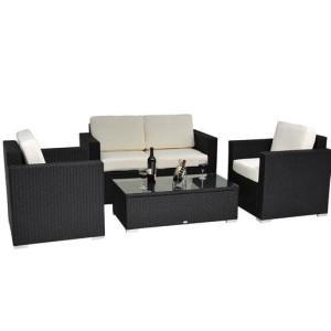 4 Piece Outdoor Wicker Sofa Patio Set