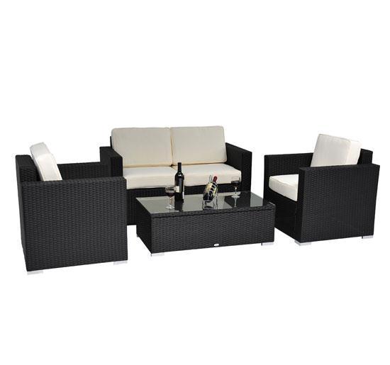 4 Piece Outdoor Wicker Sofa Patio Set Black Pe Rattan