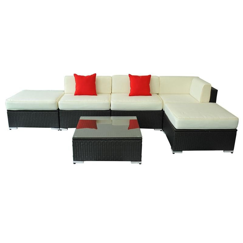 Brighton 6pc Corner Sofa Outdoor Rattan Set: 6 Piece Outdoor Wicker Furniture Set