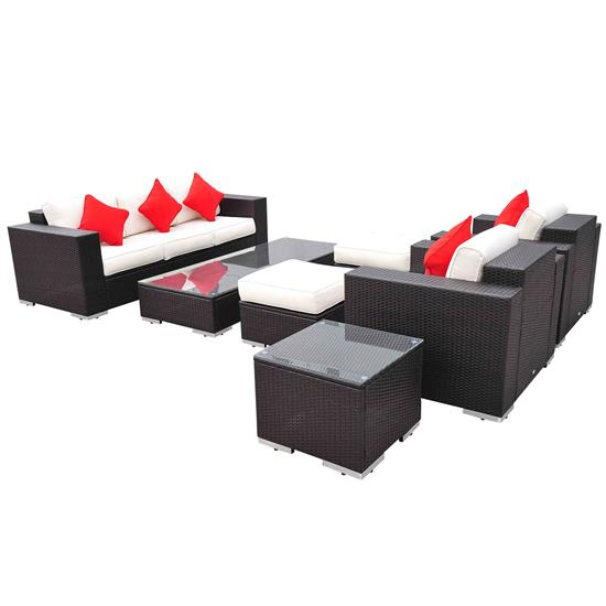 7 piece outdoor wicker furniture set for Outdoor furniture 7 piece