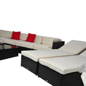 9 Piece Outdoor Wicker Sectional Sofa Set 8