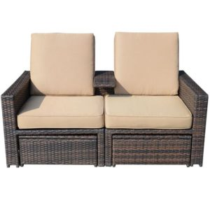 3 Piece Outdoor Wicker Patio Love Seat Lounge Chair Set - 01-0608