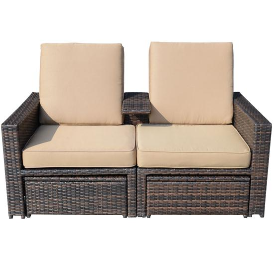 3 Piece Outdoor Wicker Patio Love Seat Lounge Chair Set