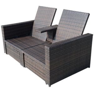 3 Piece Outdoor Wicker Patio Love Seat Lounge Chair Set 3 - 01-0608