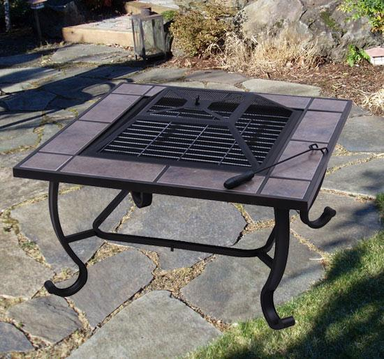 32 Inch Square Outdoor Metal Fire Heat Pit Bbq Stove