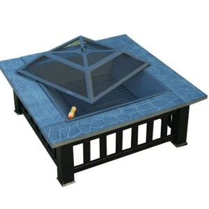 32 Inch Square Outdoor Metal Fire Pit Table 2 - 5972-2113
