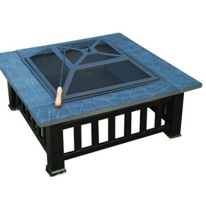 32 Inch Square Outdoor Metal Fire Pit Table 3 - 5972-2113