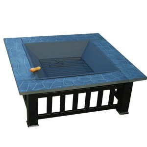 32 Inch Square Outdoor Metal Fire Pit Table 4 - 5972-2113