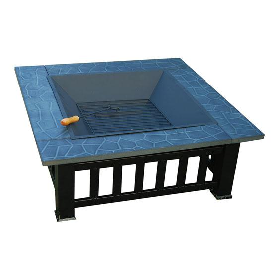 32 Inch Square Outdoor Metal Fire Pit Table