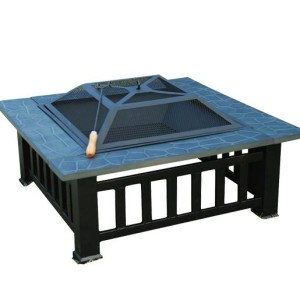 32 Inch Square Outdoor Metal Fire Pit Table - 5972-2113
