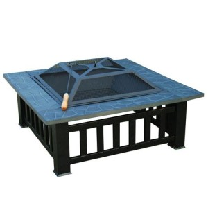 32 Inch Square Outdoor Metal Fire Pit Table 6 - 5972-2113