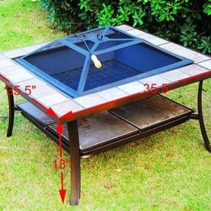 36 Inch Square Outdoor Metal Fire Pit Stove Table 2 - 5972-2114