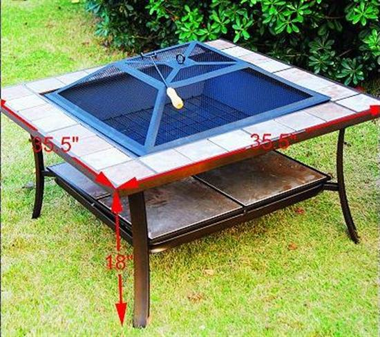 36 Inch Square Outdoor Metal Fire Pit Stove Table