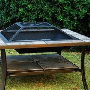 36 Inch Square Outdoor Metal Fire Pit Stove Table 3 - 5972-2114