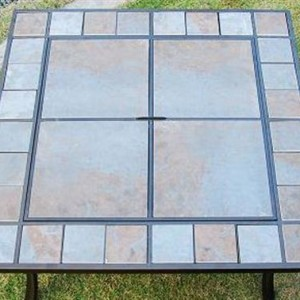 36 Inch Square Outdoor Metal Fire Pit Stove Table 4 - 5972-2114