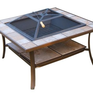 36 Inch Square Outdoor Metal Fire Pit Stove Table - 5972-2114