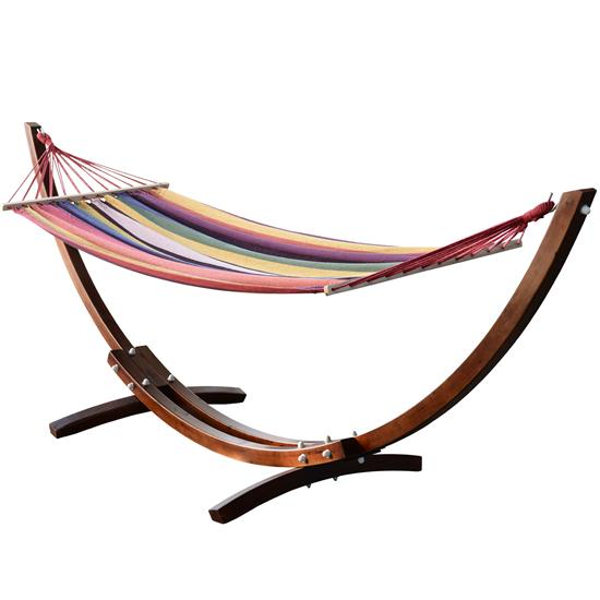 colorful wooden arc hammock with stand. Black Bedroom Furniture Sets. Home Design Ideas