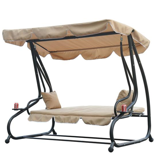 Covered Outdoor Patio Swing Bed W Frame Sand