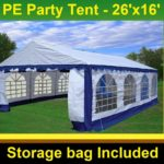 26 x 16 Heavy Duty White and Blue Party Tent 1