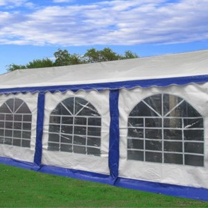 26 x 16 Heavy Duty White and Blue Party Tent 2