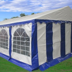 26 x 16 Heavy Duty White and Blue Party Tent - 3