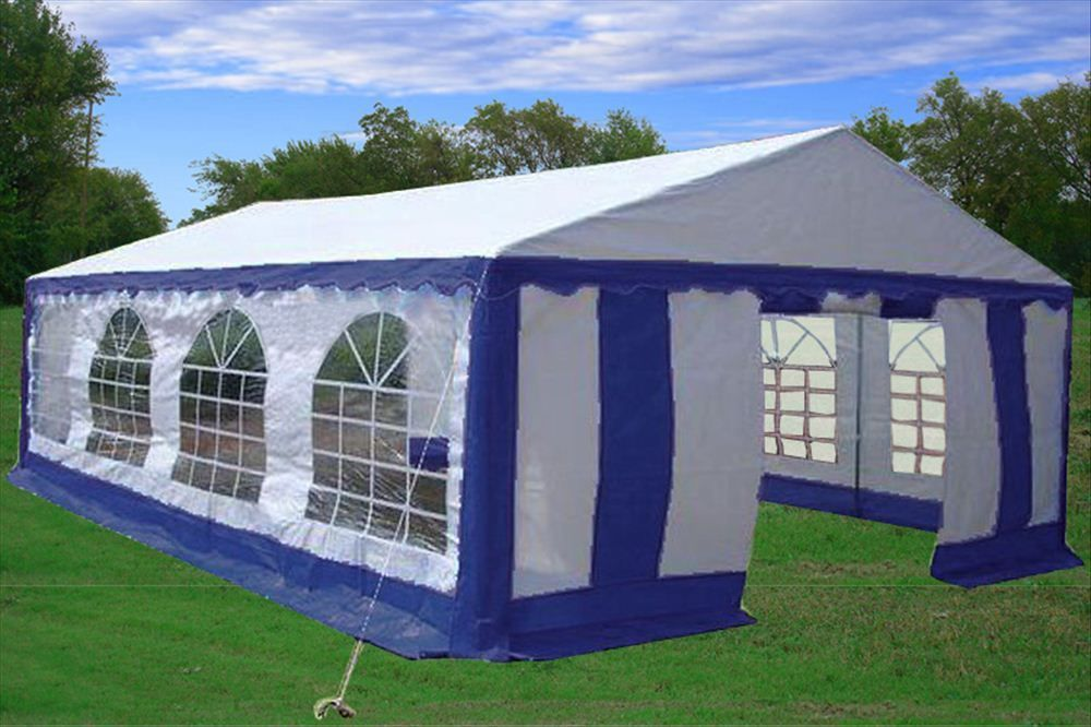 26 x 16 heavy duty white and blue party tent. Black Bedroom Furniture Sets. Home Design Ideas