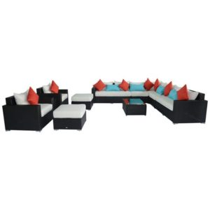 11 Piece Outdoor Wicker Sectional Sofa Set - 01-0589
