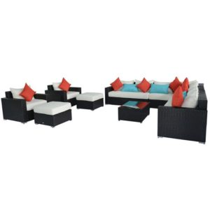 11 Piece Outdoor Wicker Sectional Sofa Set 2 - 01-0589