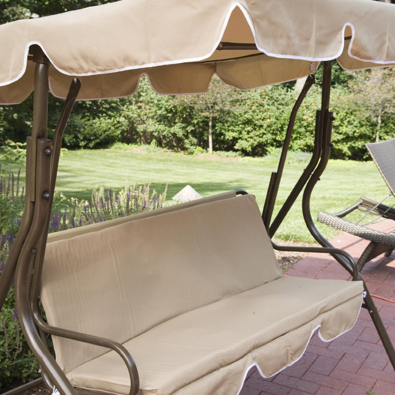 2 Person Covered Patio Swing W Adjustable Tilt Canopy