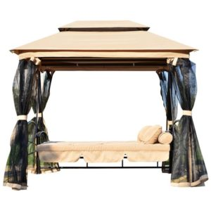 3 Person Patio Daybed Canopy Gazebo Swing 2