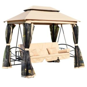 3 Person Patio Daybed Canopy Gazebo Swing