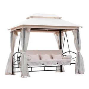 3 Person Patio Daybed Canopy Gazebo Swing CREAM 2
