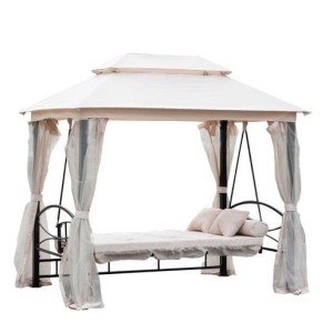 3 Person Patio Daybed Canopy Gazebo Swing CREAM 3