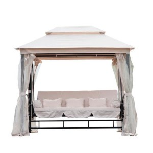 3 Person Patio Daybed Canopy Gazebo Swing CREAM