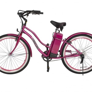 South Beach Step Through Electric Bicycle Cruiser - Pink 2