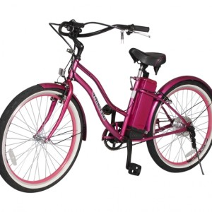 South Beach Step Through Electric Bicycle Cruiser - Pink