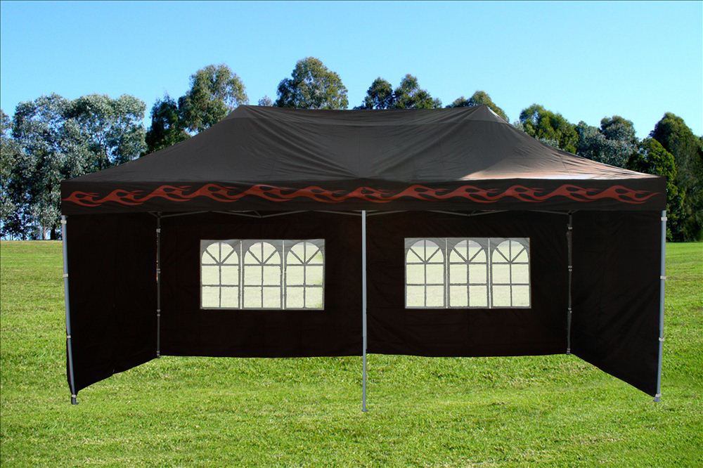 10 X 20 Black Flame Pop Up Tent Canopy Gazebo