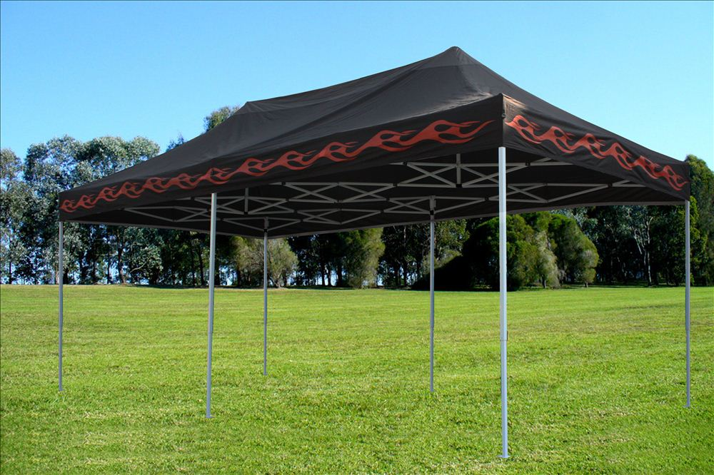 Ez Up Canopy 10x20 >> 10 X 20 Black Flame Pop Up Tent Canopy Gazebo