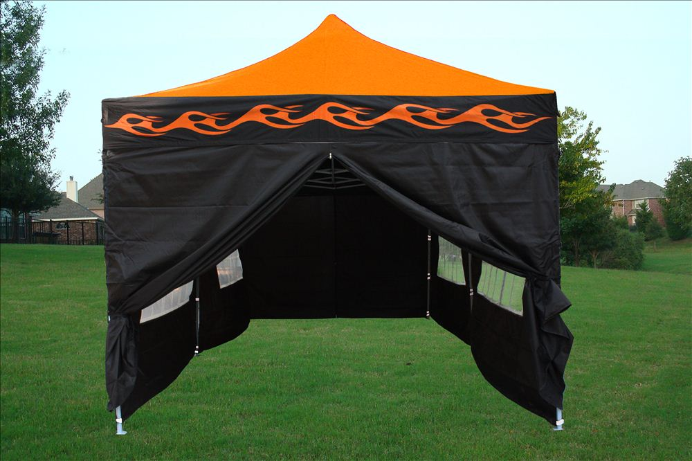 10 x 20 Orange Flame Pop Up Tent Canopy & 10 x 20 Orange Flame Pop Up Tent Canopy Gazebo -
