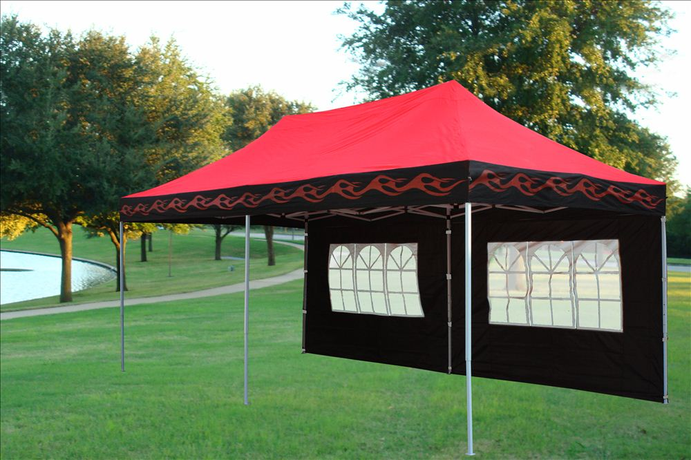 10 x 20 Red Flame Pop Up Tent Canopy 3 & 10 x 20 Red Flame Pop Up Tent Canopy Gazebo -