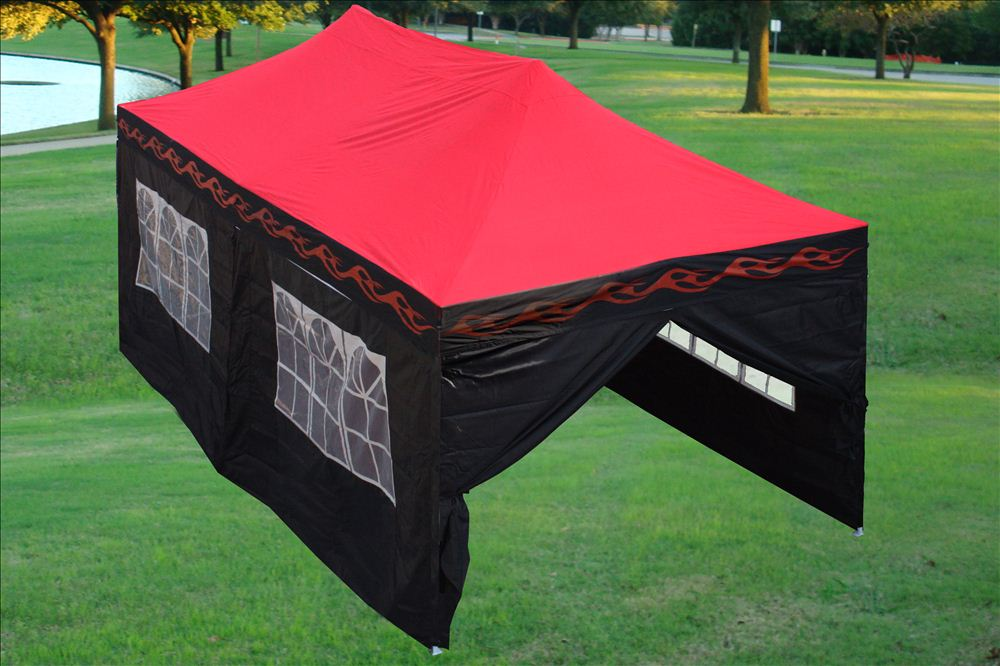 10 X 20 Red Flame Pop Up Tent Canopy Gazebo