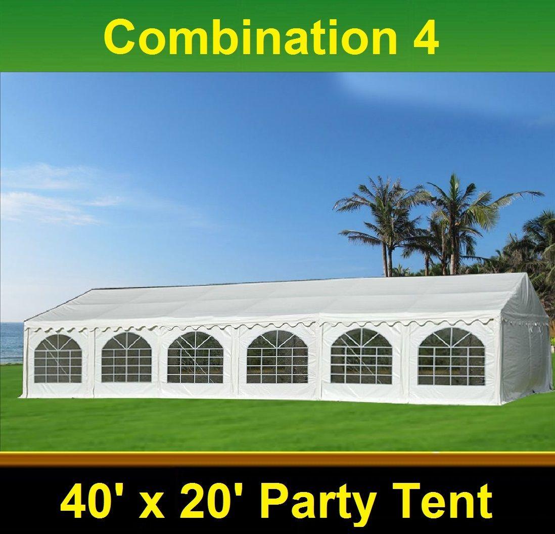 40 X 20 White Pvc Combi Party Tent 4 Combinations