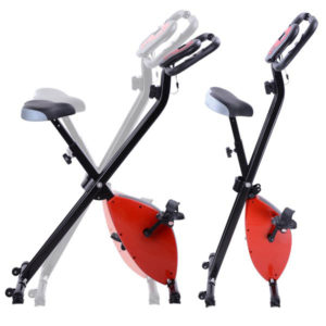 Folding Exercise Bike Magnetic Indoor Cycle - Red 2