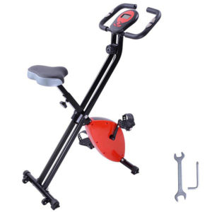 Folding Exercise Bike Magnetic Indoor Cycle - Red
