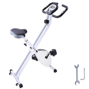 Folding Exercise Bike Magnetic Indoor Cycle - White