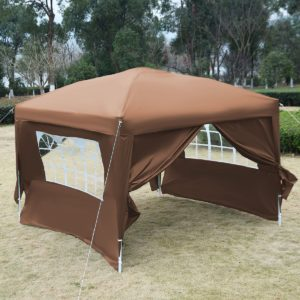 10 x 10 EZ Pop Up Tent Canopy Cafe Brown 2