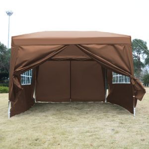 10 x 10 EZ Pop Up Tent Canopy Cafe Brown